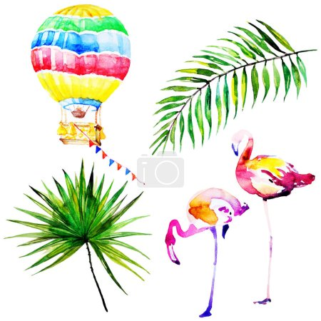 beautiful tropical palm leaves and flamingo, watercolor illustration