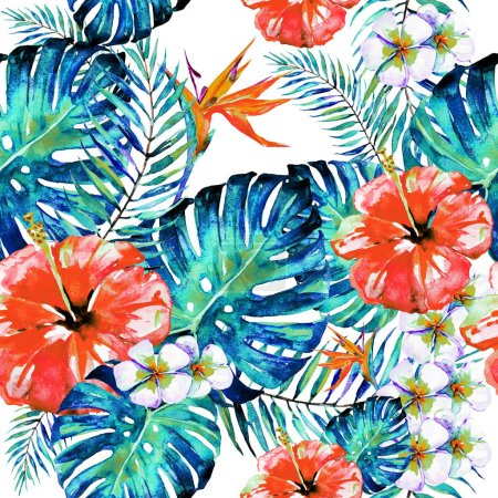 beautiful red flowers, palm leaves, watercolor on a white