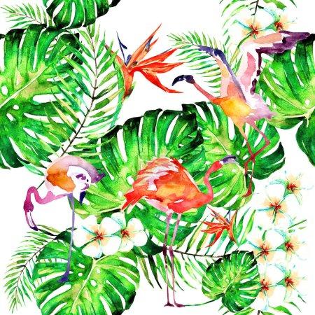Photo pour Beaux flamants roses et fleurs exotiques, feuilles de palmier sur fond blanc - image libre de droit