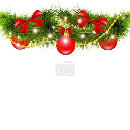 Photo pour Branche d'arbre de Noël avec des boules rouges isolées sur fond blanc, vecteur, illustration - image libre de droit