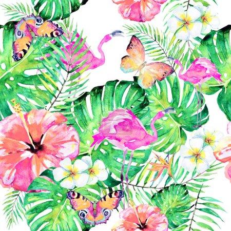 Photo pour Motif avec des feuilles de palmier et des fleurs tropicales avec des papillons et des flamants roses isolés sur fond blanc, concept de l'heure d'été - image libre de droit