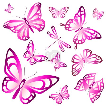Colorful vector illustration of beautiful pink but...