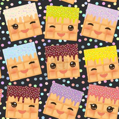 Illustration pour Motif sans couture avec des coeurs gaufres Kawaii Belgique avec les joues roses et les yeux clignants, couleurs pastel fond noir à pois noir. Illustration vectorielle - image libre de droit