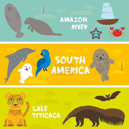 Cute animals set anteater manatee
