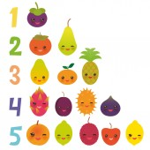 Printable flash card for numbers for preschool kindergarten kids kawaii fruit Pear Mangosteen tangerine papaya persimmon lime apricot dragon fruit figs mango peach lemon lychee apple kiwano Vector illustration