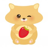cute kawaii hamster with fresh Strawberry pastel colors on white background Vector illustration