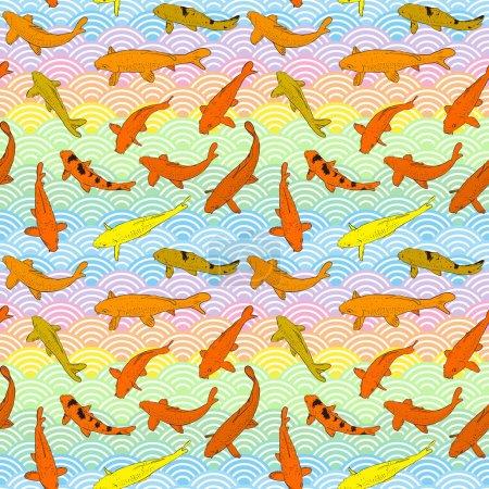 Seamless pattern Koi carp nishikigoi literally bro...