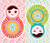 Russian dolls matryoshka pink blue green mint colors vintage card with polka dot backgroun Can be used for Card banner template copy space Vector