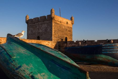 Wooden fishing boats in a port. Tower of the fortification in the bacground. Blue morning sky. Essaouira, Morocco.