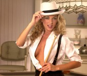 Pool Shark Sexy curly haired sandy blonde poses in white mans shirt black skirt and suspenders - Top hat and pool stick - rack em up