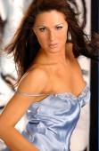 Blue satin slip on beautiful brunette on white tiger background