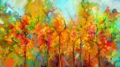 """Постер, картина, фотообои """"Абстрактный пейзаж красочные картины маслом на холсте. Полу абстрактный дерева в лесу. Красные и зеленые листья с голубым небом. Весна, Лето сезон природы фон. Ручная роспись импрессионистов стиль"""""""