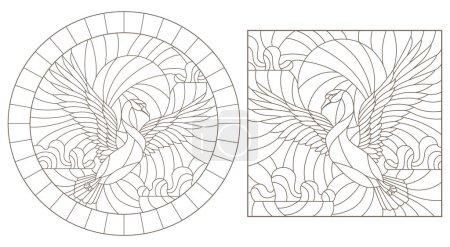 Photo pour Un ensemble d'illustrations de contours de vitraux avec des cygnes volants contre le ciel, des contours sombres sur un fond blanc - image libre de droit