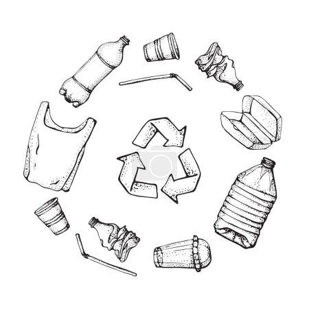 Illustration pour Recyclage de produits plastiques. Ensemble d'icônes de pollution en plastique dessinées à la main. Illustration vectorielle collection de symboles croquants. Sac, Bouteille, Emballage, Contamination, plat jetable, paille - image libre de droit