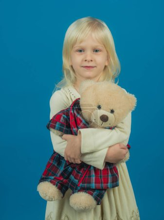 Happy childhood. My favorite childhood toy. Little girl with teddy bear. Small girl hold toy bear. Little child with soft toy. Small kid happy smiling. My dream gift