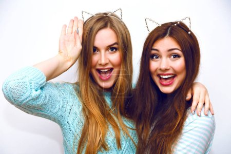 Photo for Close up fashion lifestyle portrait of two young hipster girls best friends in ears hairbands posing in studio - Royalty Free Image