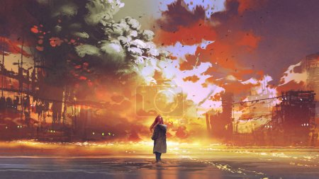 Photo for Woman standing on the sea looking at the burning city, digital art style, illustration painting - Royalty Free Image