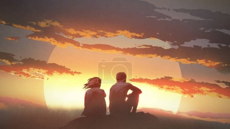 Photo for Silhouette of a young couple sitting on a rock looking at the sunset, digital art style, illustration painting - Royalty Free Image