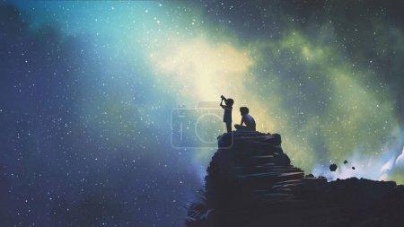 Photo pour Scène nocturne de deux frères à l'extérieur, petit garçon regardant à travers un télescope les étoiles dans le ciel, style art numérique, peinture d'illustration - image libre de droit