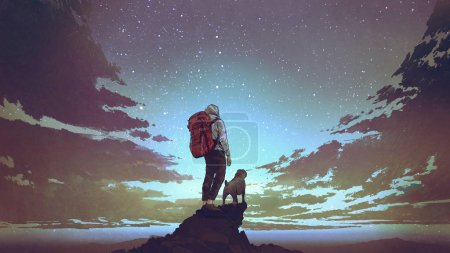 Photo for Young hiker with backpack and a dog standing on the rock and looking at stars in the night sky, digital art style, illustration painting - Royalty Free Image