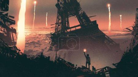 Photo pour Décor post-apocalyptique montrant un homme et un chien debout sur les ruines de la ville, style d'art numérique, peinture d'illustration - image libre de droit