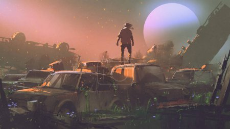 Photo for Man standing on roof of abandoned car in vehicle graveyard at sunset, digital art style, illustration painting - Royalty Free Image