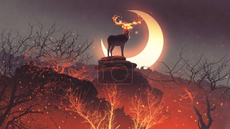 the deer with its fire horns standing on rocks in forest fire, digital art style, illustration painting
