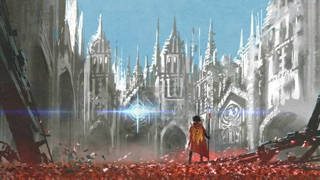 the knight looking at mysterious light in gothic buildings, digital art style, illustration painting