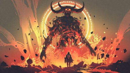 Photo for Knight with a sword facing the lava demon in hell, digital art style, illustration painting - Royalty Free Image