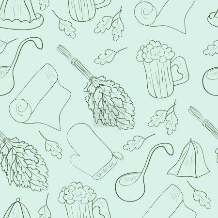 Arrière-plan, papier peint, texture. Sans couture. Objets pour bains, saunas. Chapeau, balai, bière, serviette. Croquis. Motif vert sur fond bleu .