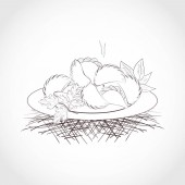 Dumplings on a plate Greenery Plain pattern Black and white Sketch