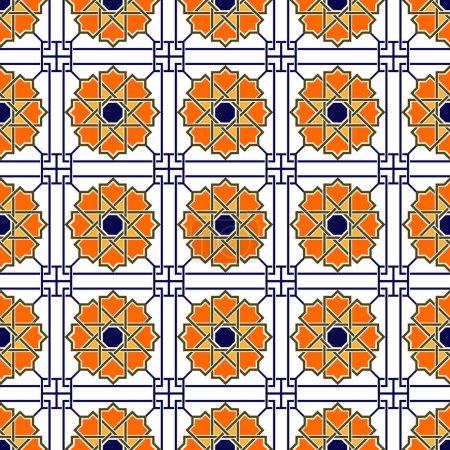 Illustration for Damask elegant light wallpaper. Geometric ornamental vector pattern. Arabian style. - Royalty Free Image