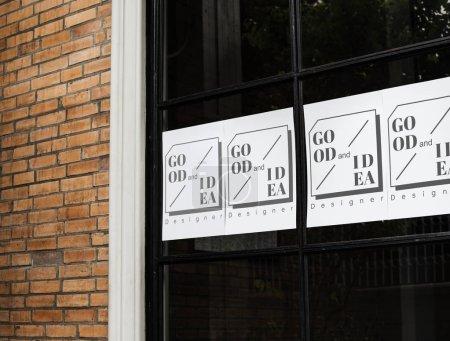 Posters on a black window mockup