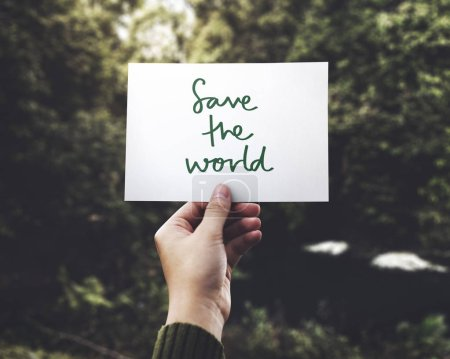 Phrase Save the World in nature background