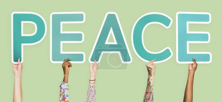 Blue letters forming the word peace
