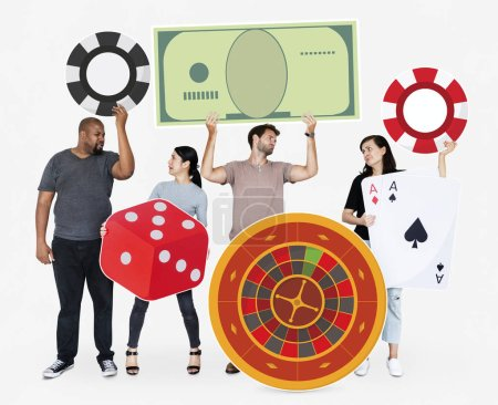 Disappointed diverse people holding casino icons