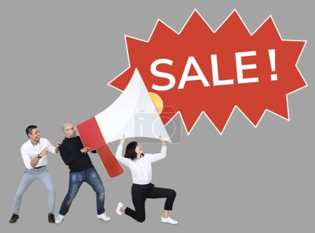 business people screaming sale into megaphone icon on grey backdrop