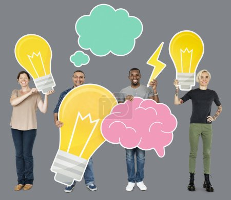 Happy people demonstrating creative idea concept