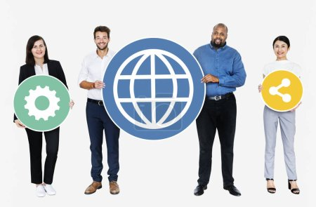 Happy diverse people holding internet icons