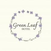 Green leaf hotel logo vector