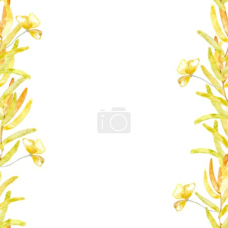 Photo for The frame is seamless on the sides. Herbarium branches with yellow leaves and dried flowers. Made in watercolor. - Royalty Free Image
