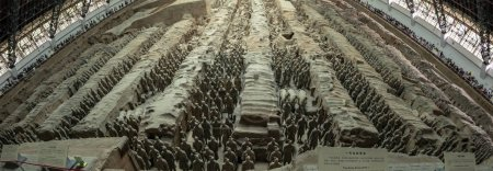 Xi'an, Shaanxi, China - September 9, 2018 :  Tourists around panoroma of Terra Cotta Warriors in Pit 1 at burial site of Emperor Qin Shi Huang Di in Xi'an, Shaanxi, China.