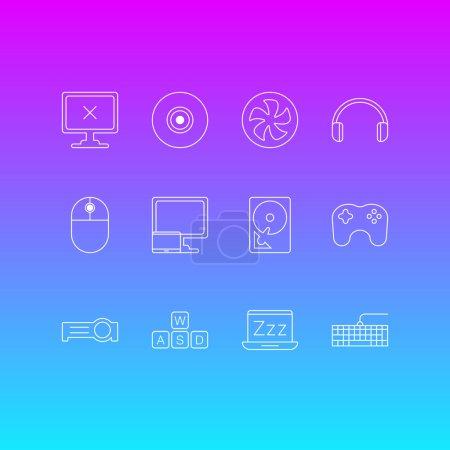 """Photo pour Illustration du style de ligne 12 ordinateur icônes. Modifiable ensemble de clavier de jeu, ordinateur de bureau, mode """"veille"""" et autres éléments de l'icône. - image libre de droit"""