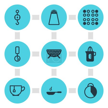 Photo pour Illustration de 9 icônes de vaisselle de cuisine. Ensemble modifiable de passoire, chronomètre, éléments icône tasse de thé . - image libre de droit