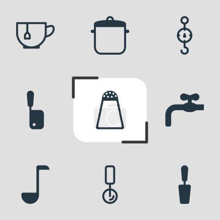 Photo pour Illustration de 9 icônes de cuisson. Ensemble modifiable de cave à sel, tournevis, balances et autres éléments d'icône . - image libre de droit
