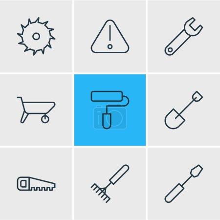 Photo pour Illustration du style de ligne 9 industrie icônes. Modifiable ensemble de scie à main, attention, éléments d'icône pelle. - image libre de droit