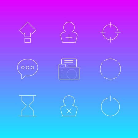 Ilustración de Ilustración de vector de estilo de línea de los iconos de usuario 9. Editar conjunto de recarga, captura de pantalla, correo electrónico y otros elementos de icono. - Imagen libre de derechos