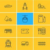Vector illustration of 12 carrying icons line style Editable set of bulldozer rubber boat space vehicle and other icon elements