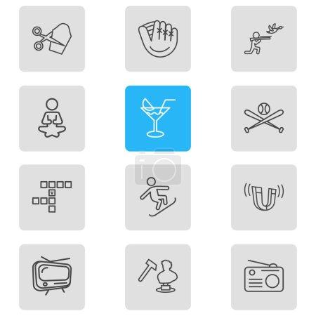 Illustration pour Illustration vectorielle de 12 activités icônes style ligne. Ensemble modifiable de sculptures, mots croisés, cocktails et autres éléments emblématiques . - image libre de droit