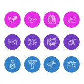 Vector illustration of 12 entertainment icons line style Editable set of travelling chemistry tv and other icon elements